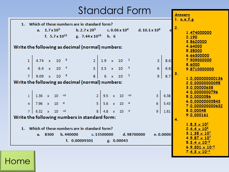Standard Form Home Answers a,e,f,g