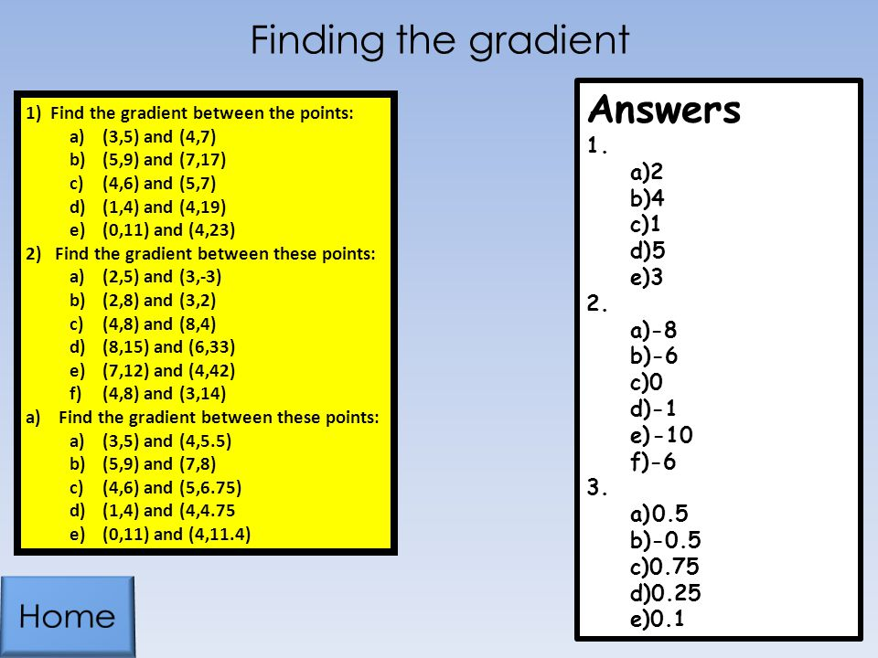 Finding the gradient Answers Home