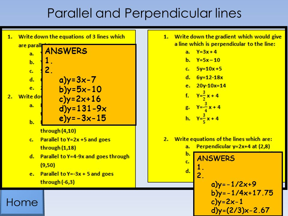 Parallel and Perpendicular lines