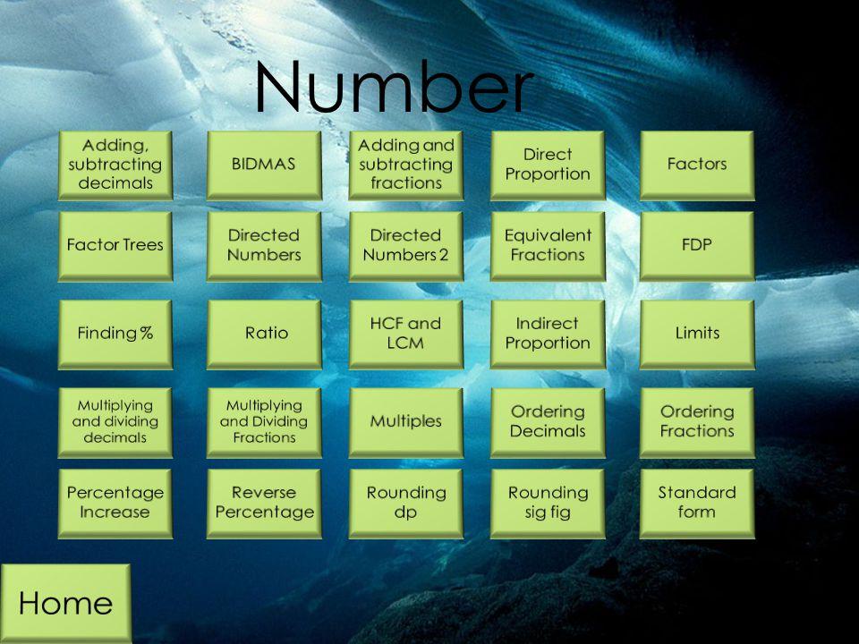 Number Home Adding, subtracting decimals BIDMAS