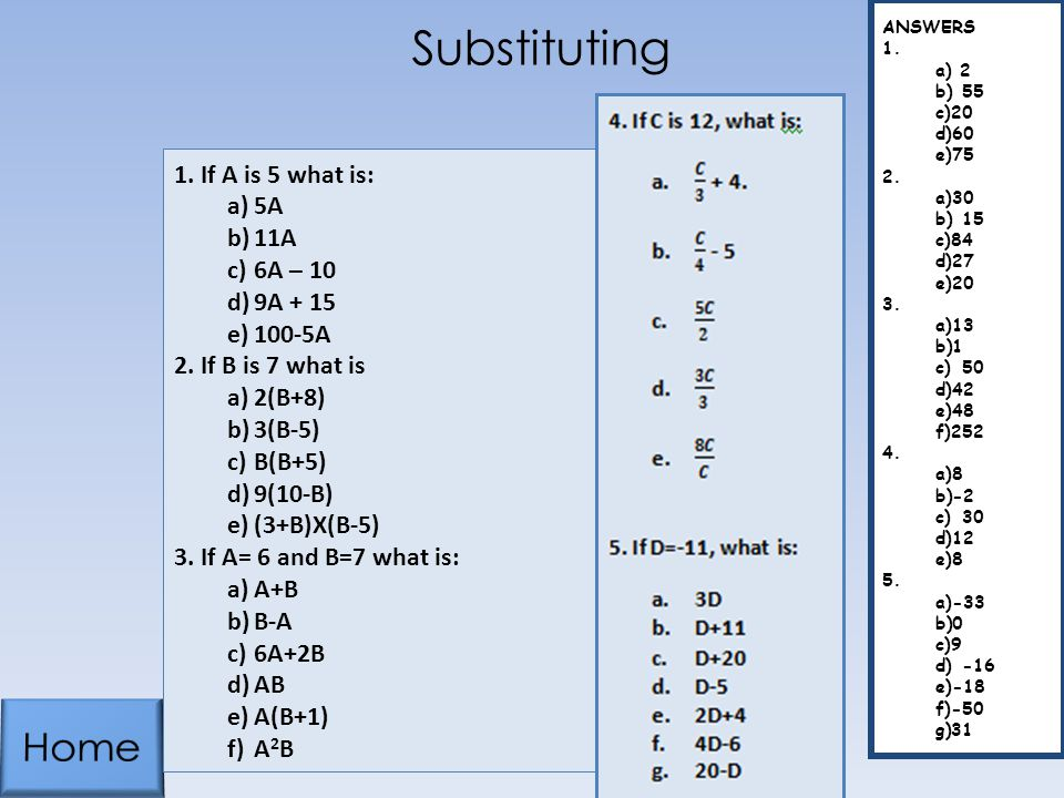 Substituting Home If A is 5 what is: 5A 11A 6A – 10 9A + 15 100-5A