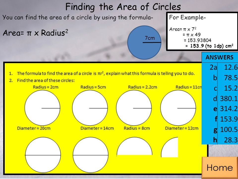 Finding the Area of Circles