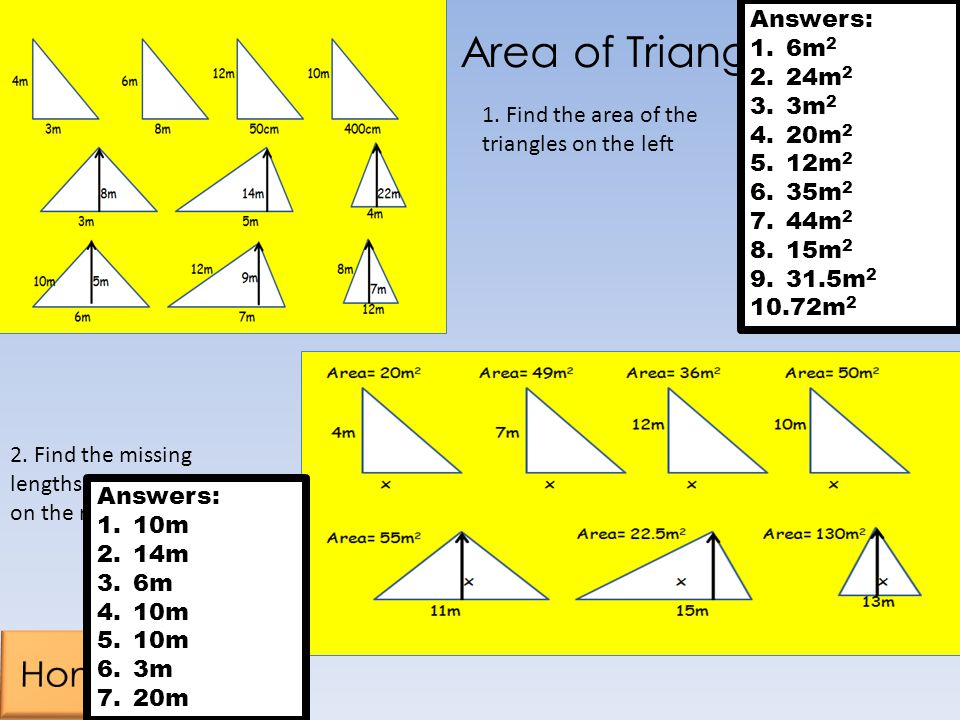 Area of Triangles Home Answers: 6m2 24m2 3m2 20m2 12m2 35m2