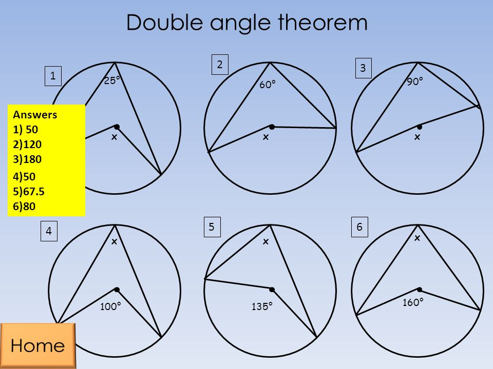 Double angle theorem Home Answers 1) 50 2)120 3)180 4)50 5)67.5