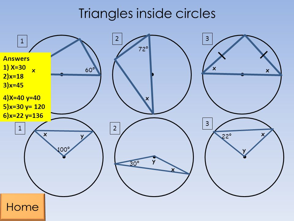Triangles inside circles