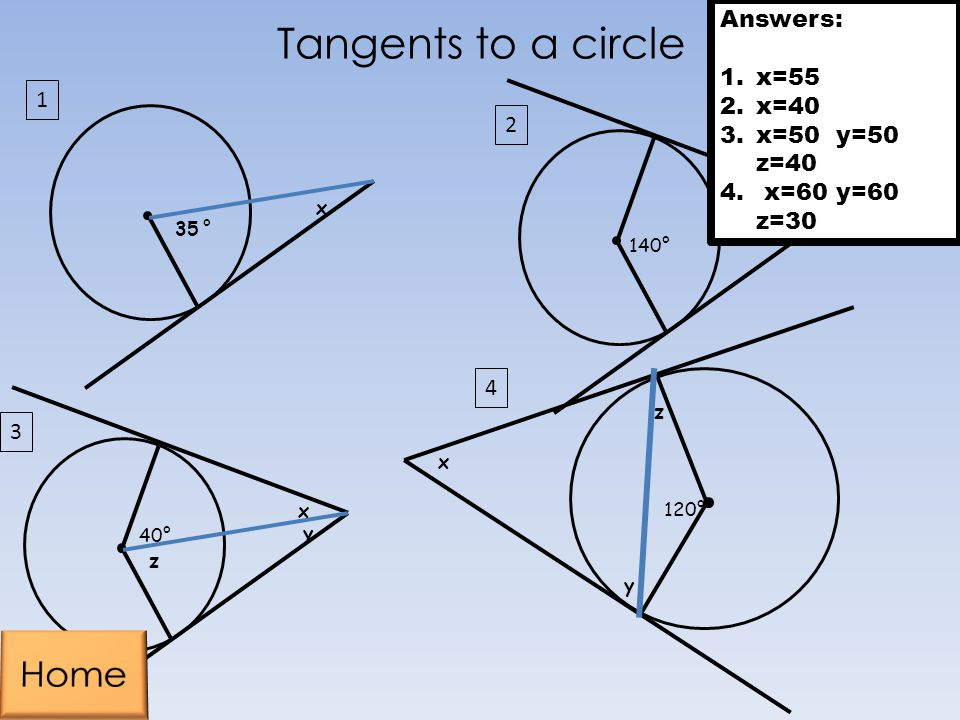 Tangents to a circle Home 1 Answers: x=55 x=40 x=50 y=50 z=40 1