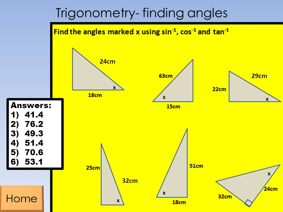 Trigonometry- finding angles