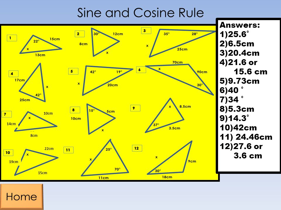 Sine and Cosine Rule Home Answers: 1)25.6˚ 2)6.5cm 3)20.4cm