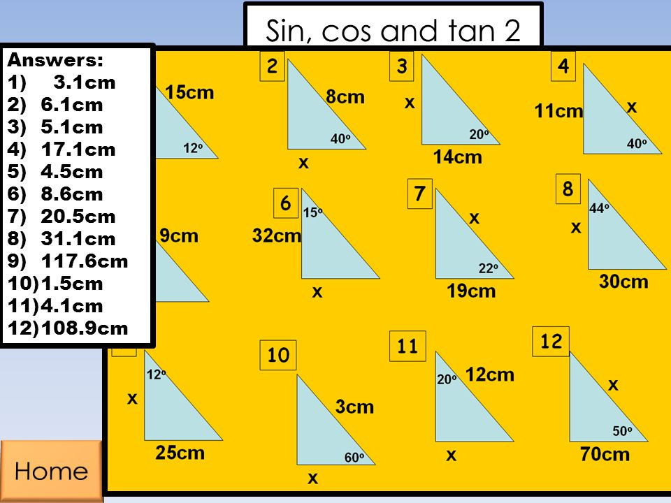 Sin, cos and tan 2 Home Home Answers: 3.1cm 6.1cm 5.1cm 17.1cm 4.5cm