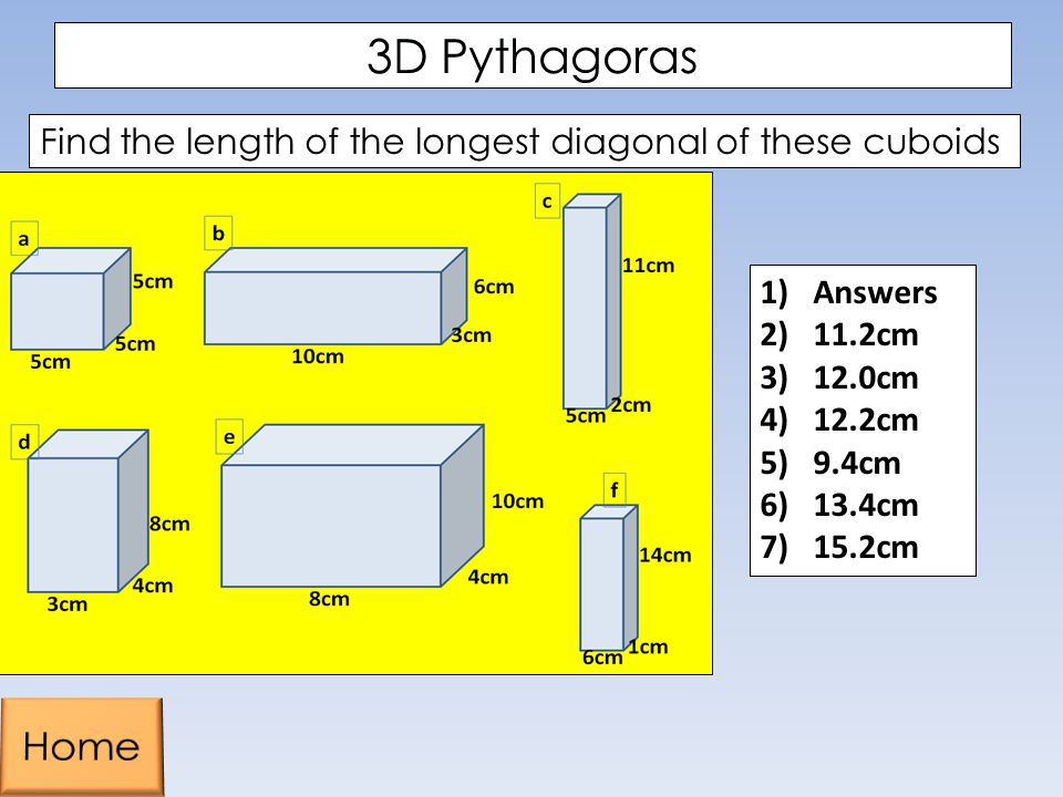 3D Pythagoras Find the length of the longest diagonal of these cuboids. Answers. 11.2cm. 12.0cm.