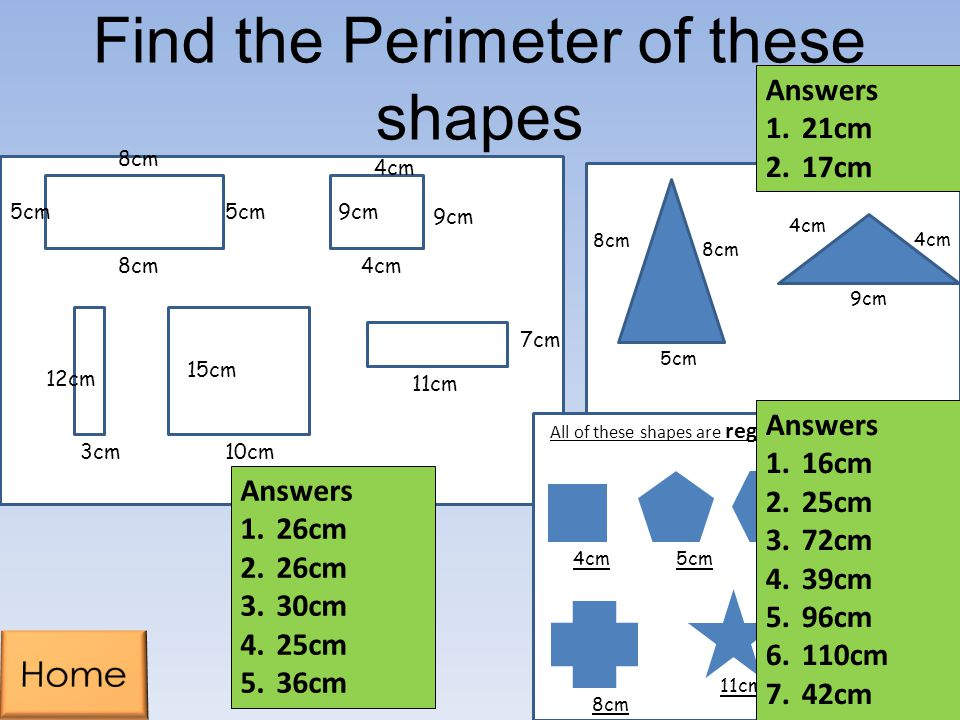 Find the Perimeter of these shapes