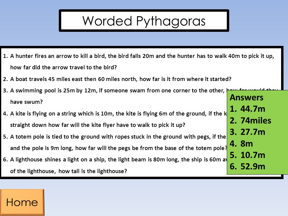 Worded Pythagoras Home Answers 44.7m 74miles 27.7m 8m 10.7m 52.9m