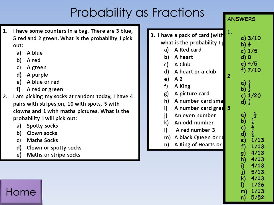 Probability as Fractions