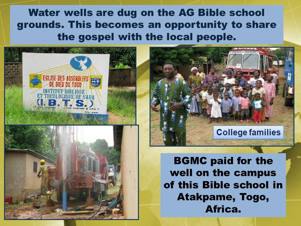 Water wells are dug on the AG Bible school grounds