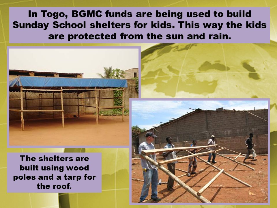 The shelters are built using wood poles and a tarp for the roof.