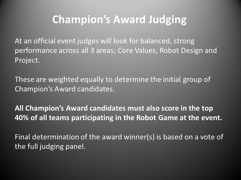 Champion's Award Judging