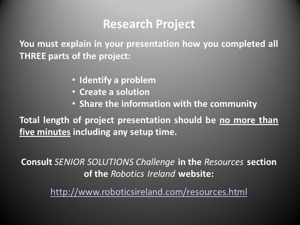 Research Project You must explain in your presentation how you completed all THREE parts of the project: