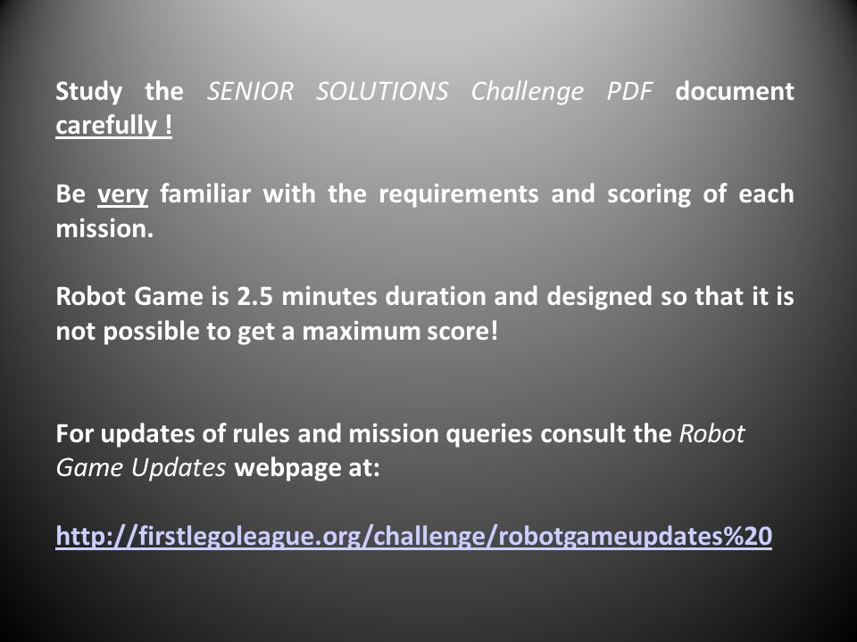 Study the SENIOR SOLUTIONS Challenge PDF document carefully !