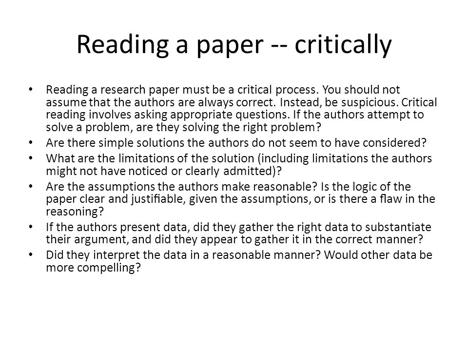 Reading a paper -- critically