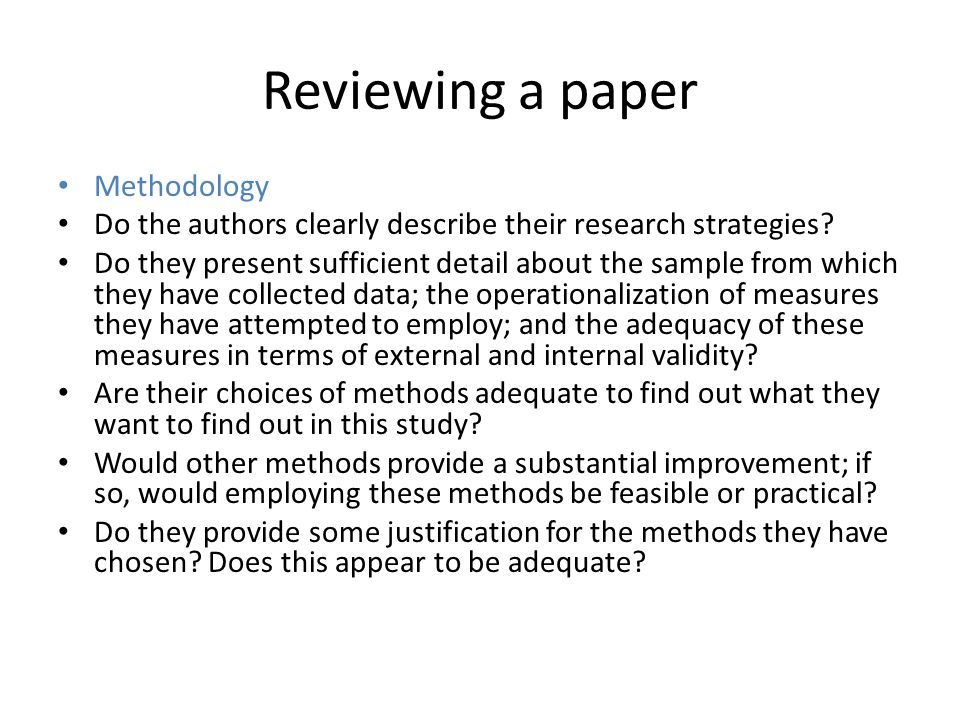 Reviewing a paper Methodology