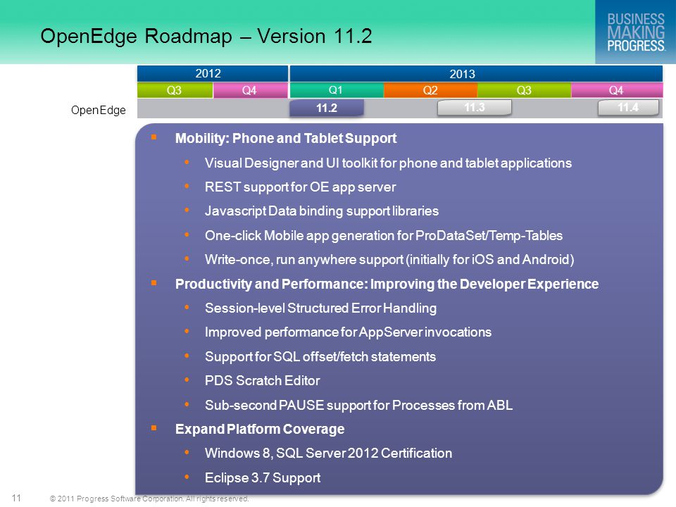 OpenEdge Roadmap – Version 11.2