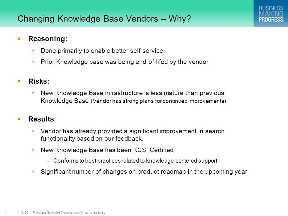 Changing Knowledge Base Vendors – Why