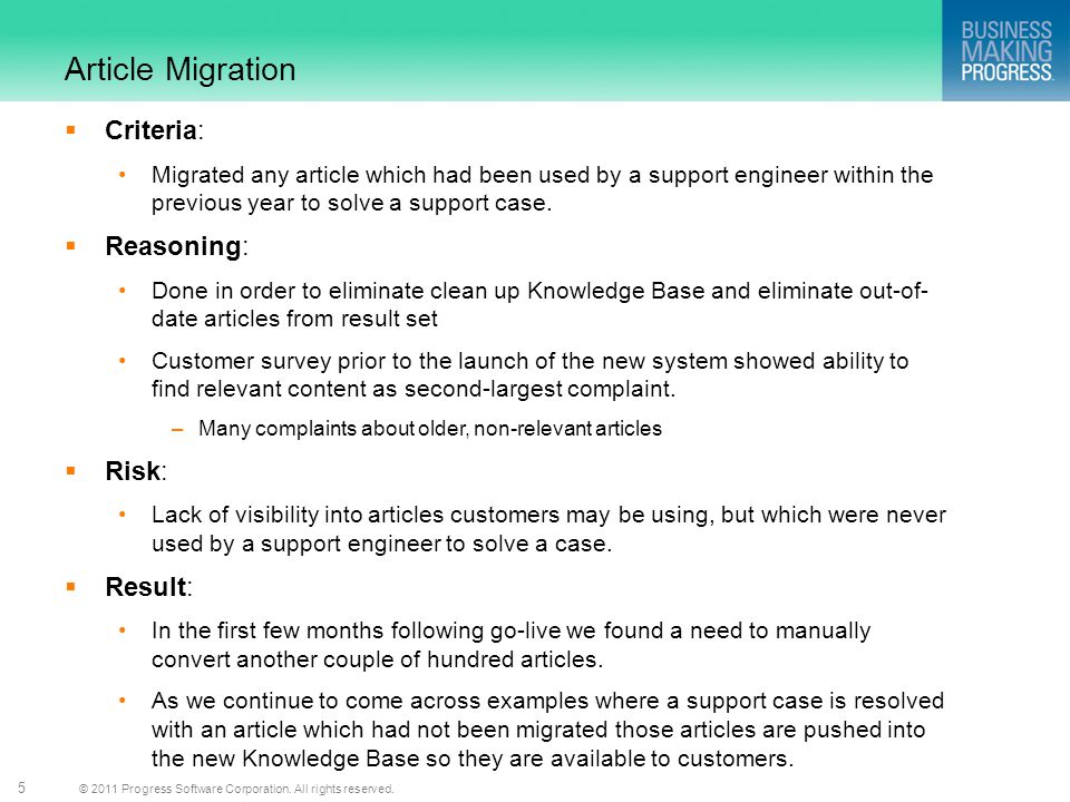 Article Migration Criteria: Reasoning: Risk: Result: