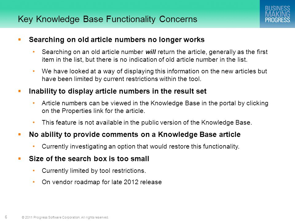Key Knowledge Base Functionality Concerns