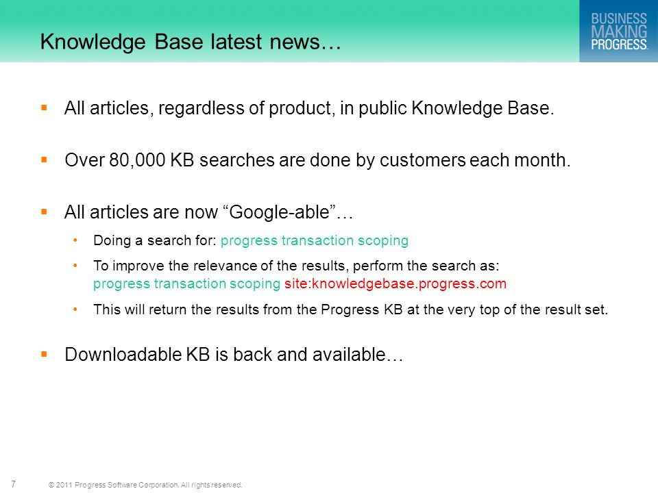 Knowledge Base latest news…