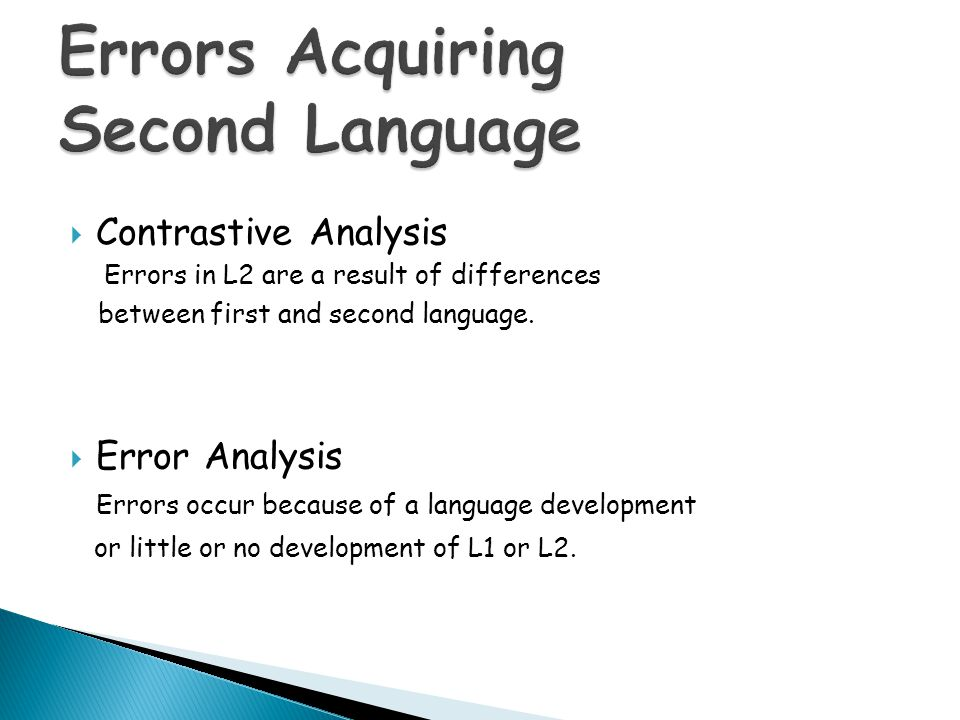 Errors Acquiring Second Language