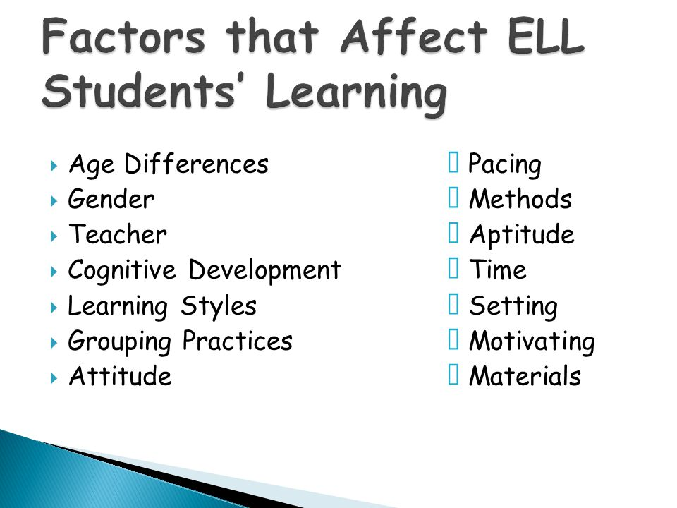 Factors that Affect ELL Students' Learning