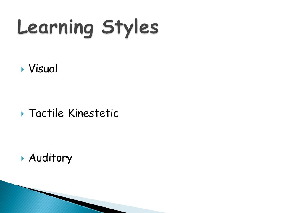 Learning Styles Visual Tactile Kinestetic Auditory