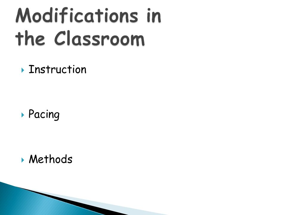 Modifications in the Classroom