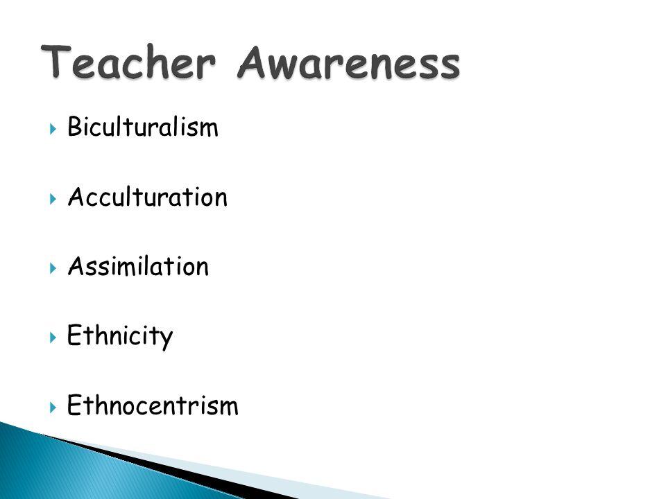Teacher Awareness Biculturalism Acculturation Assimilation Ethnicity