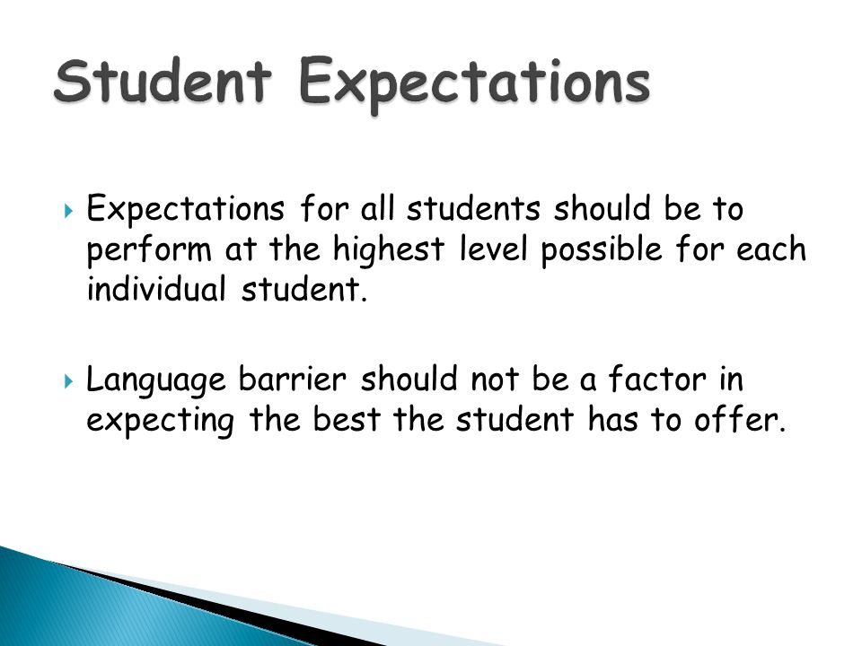 Student Expectations Expectations for all students should be to perform at the highest level possible for each individual student.