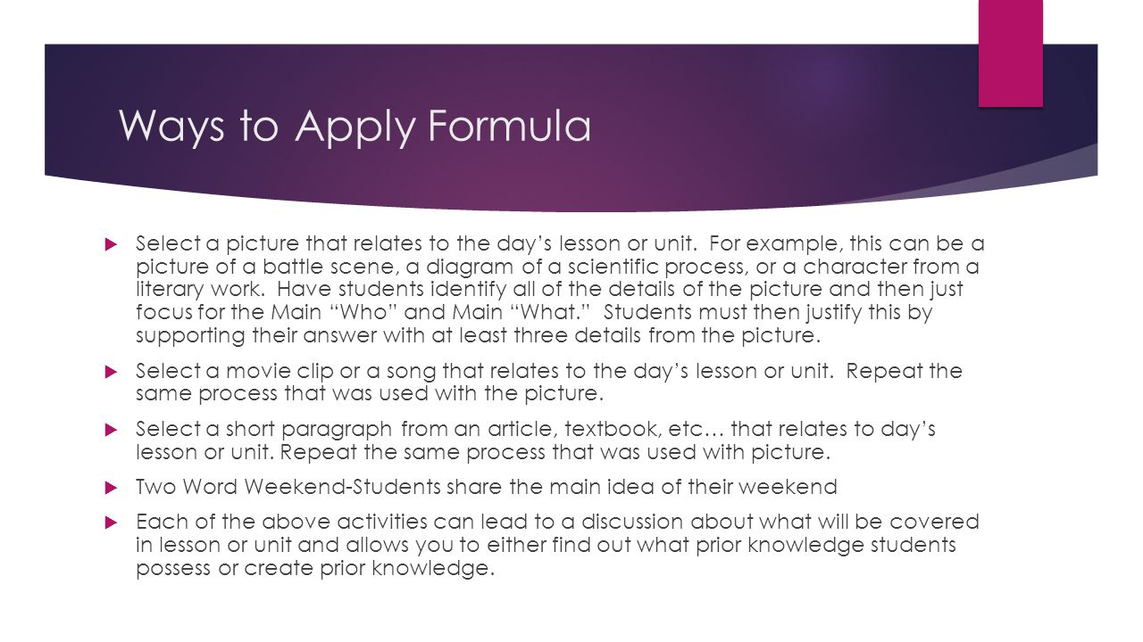 Ways to Apply Formula