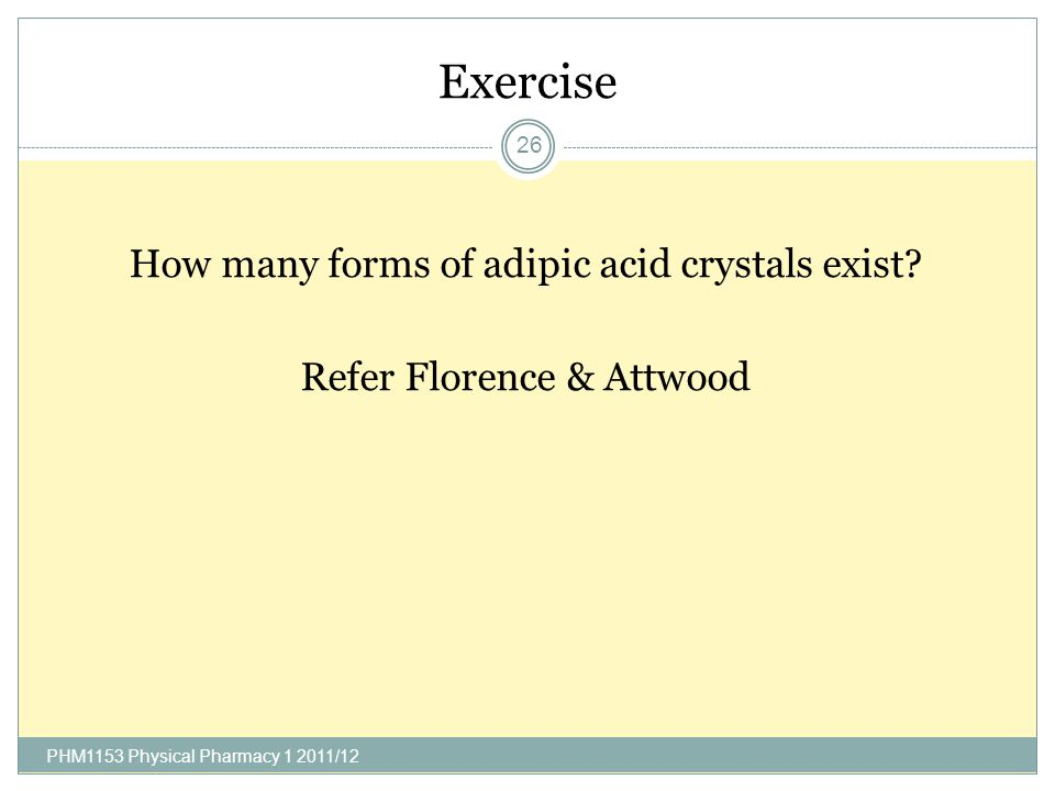 Exercise How many forms of adipic acid crystals exist