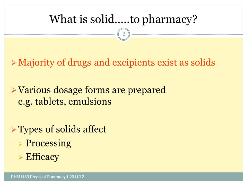 What is solid…..to pharmacy