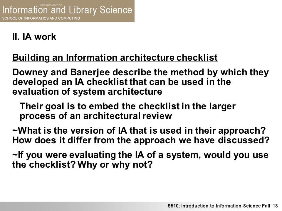 II. IA work Building an Information architecture checklist.