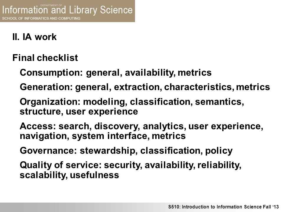 II. IA work Final checklist. Consumption: general, availability, metrics. Generation: general, extraction, characteristics, metrics.