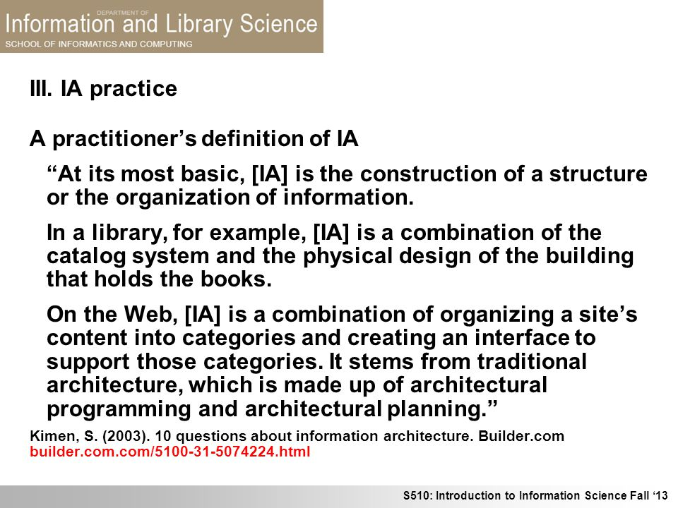 A practitioner's definition of IA