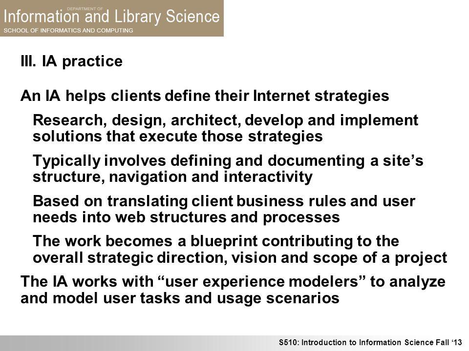 III. IA practice An IA helps clients define their Internet strategies.