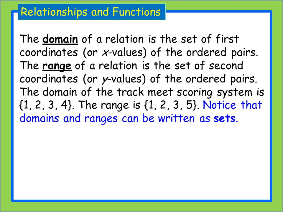 The domain of a relation is the set of first coordinates (or x-values) of the ordered pairs.