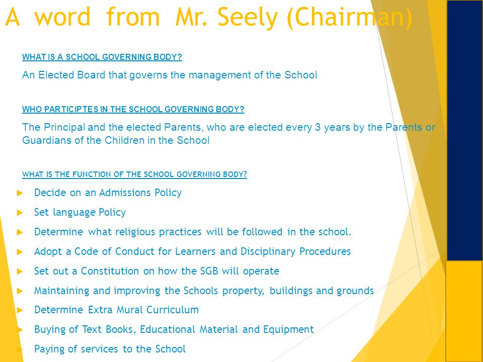 A word from Mr. Seely (Chairman)