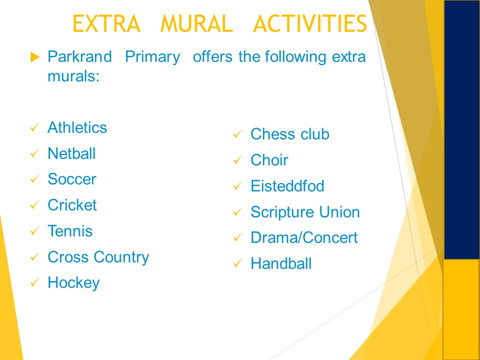 Welcome to parkrand primary school ppt download for Extra mural activities at school