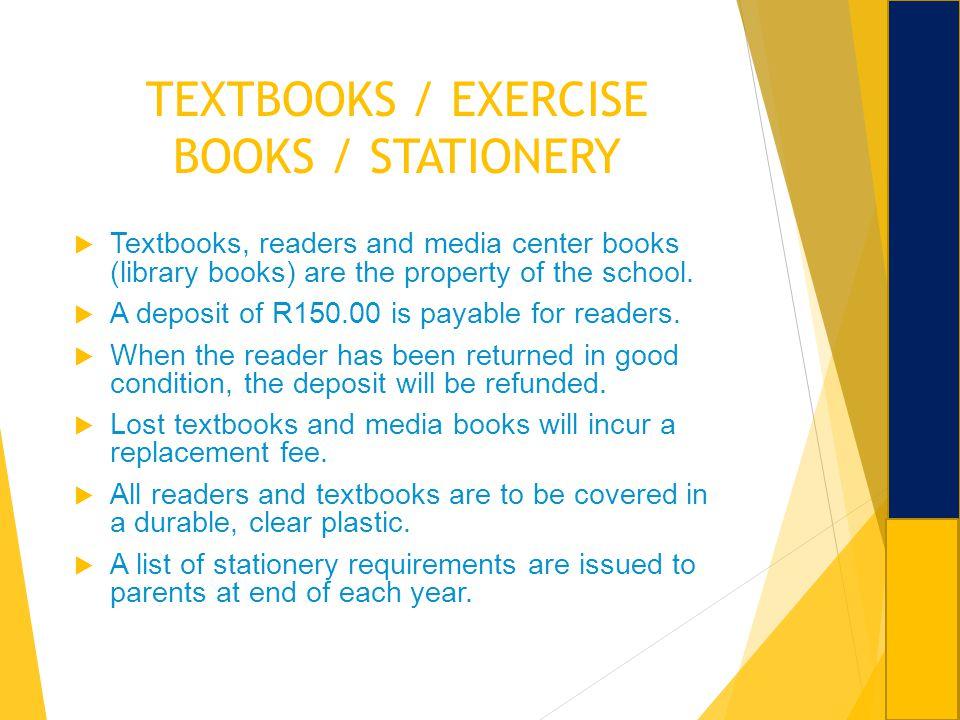 TEXTBOOKS / EXERCISE BOOKS / STATIONERY