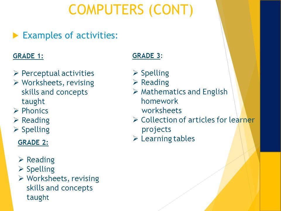 COMPUTERS (CONT) Examples of activities: Perceptual activities