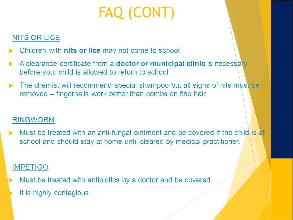 FAQ (CONT) NITS OR LICE. Children with nits or lice may not come to school.