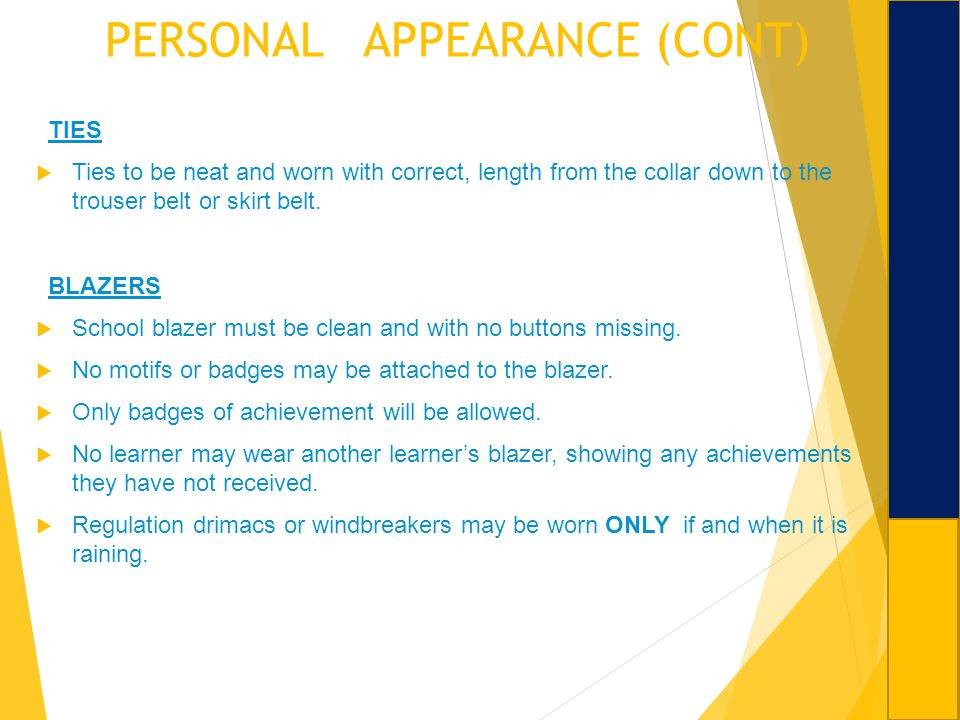 PERSONAL APPEARANCE (CONT)