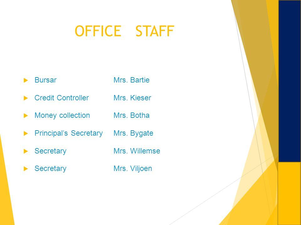 OFFICE STAFF Bursar Mrs. Bartie Credit Controller Mrs. Kieser